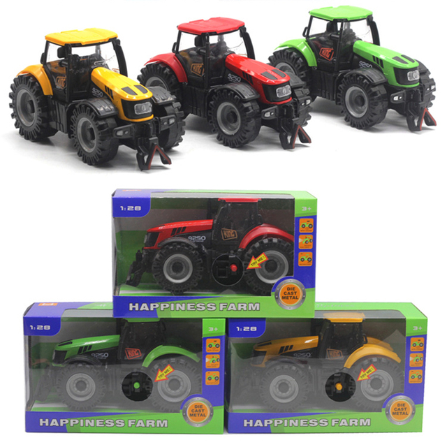 1/28 Diecast Engineering Tractor Farm Sliding Car Model with LED Sound Kids Toy Button battery simulation agricultural vehicle