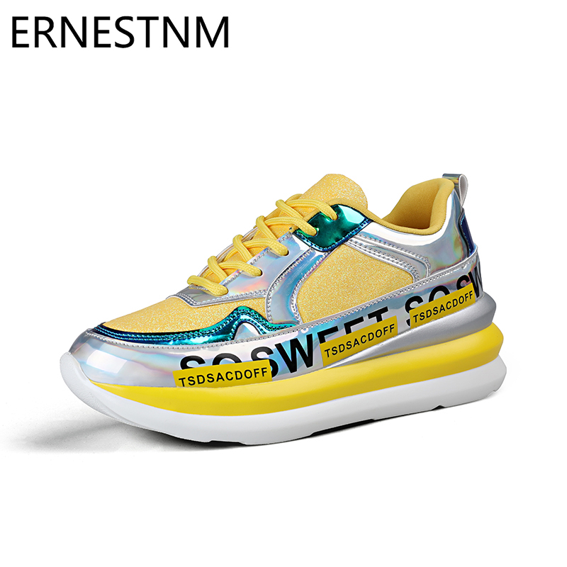 ERNESTNM Women Sneakers Breathable Mesh Gold Platform Ladies Shoes Autumn Knitting Flat Casual Glitter Sequined Chunky Sneakers