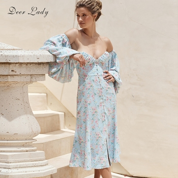 Deer Lady Floral Print Dress Bodycon Dresses 2020 Summer Blue Off Shoulder Bodycon Celebrity Club Party Dress Women Evening