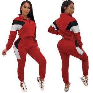 Image 4 - Conjuntos de duas peças fatos de treino 2020 primavera autum feminino zíper cor bloco curto moletom e lápis pant define sportwears sweatsuits