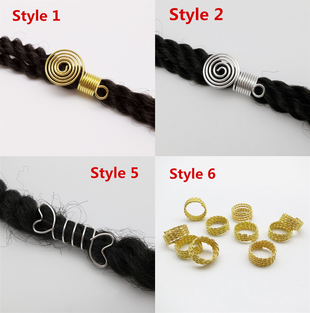 10Pcs Dreadlock Cuffs Clips Spiral Golden Beads Hair Braid Decoration for Women