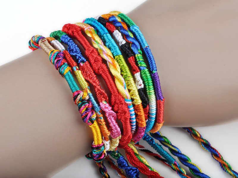 1 Pza pulseras de colores brazaletes de niñas regalo de joyería DIY pulsera de cuerda de encanto lotes trenza hebras amistad cable pulsera hecha a mano