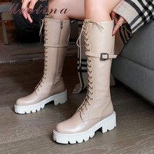 Купить с кэшбэком Meotina Autumn Motorcycle Boots Women Natural Genuine Leather Buckle Thick High Heel Knee High Boots Zip Round Toe Shoes Lady 42