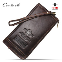 2019 high quality Men Wallet Clutch 100% Genuine Leather Brand Rfid  Wallet Male Organizer Cell Phone Clutch Bag Long Coin Purse цена