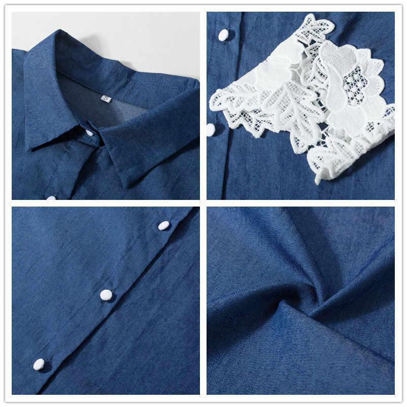платье женское осень мода 2019 кружевное джинсовое платье с длинным рукавом синее свободное платье на пуговицах платья больших размеров женская одежда 50085