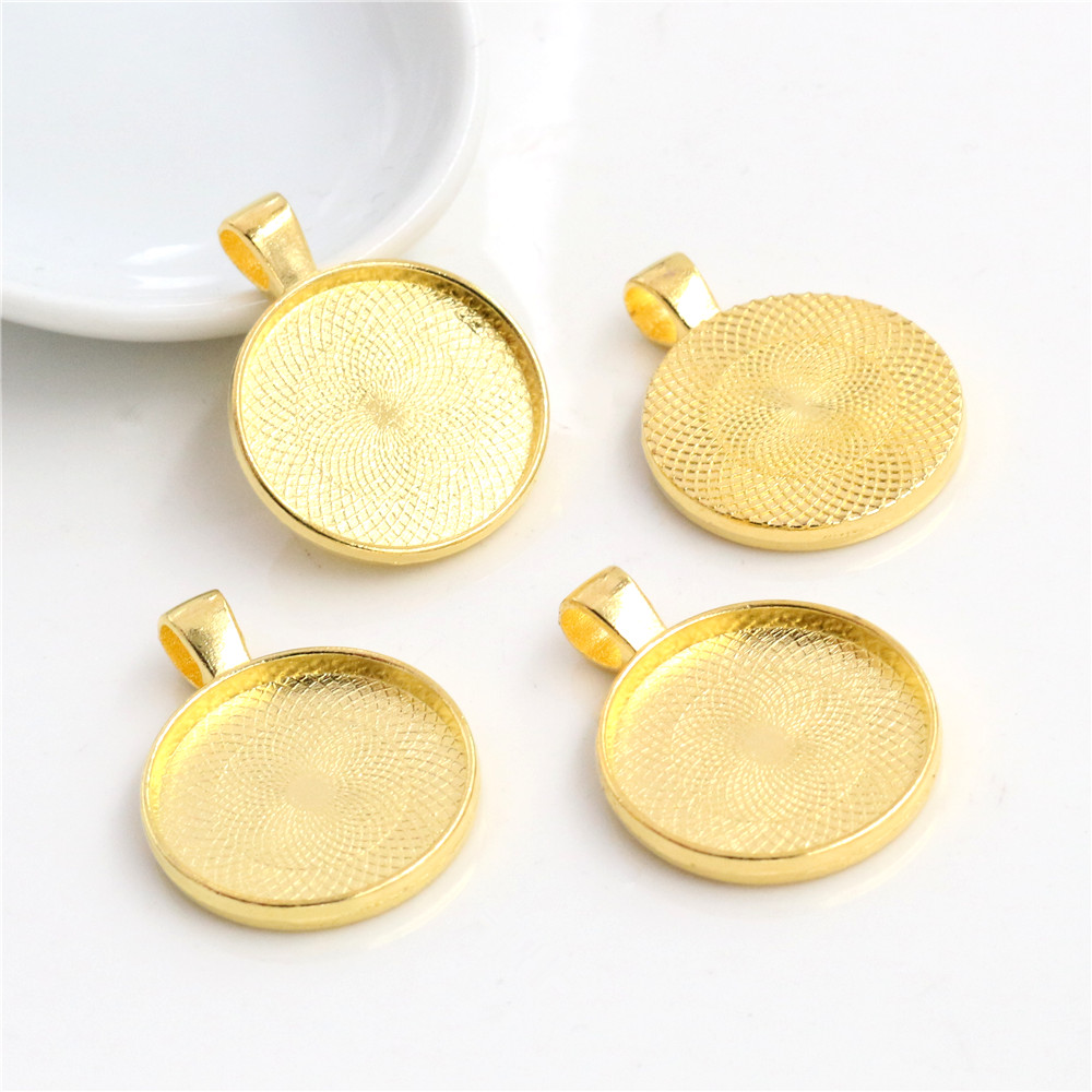 10pcs 20mm Inner Size Gold Colors Plated Classic Style Cabochon Base Setting Charms Pendant (D1-11)