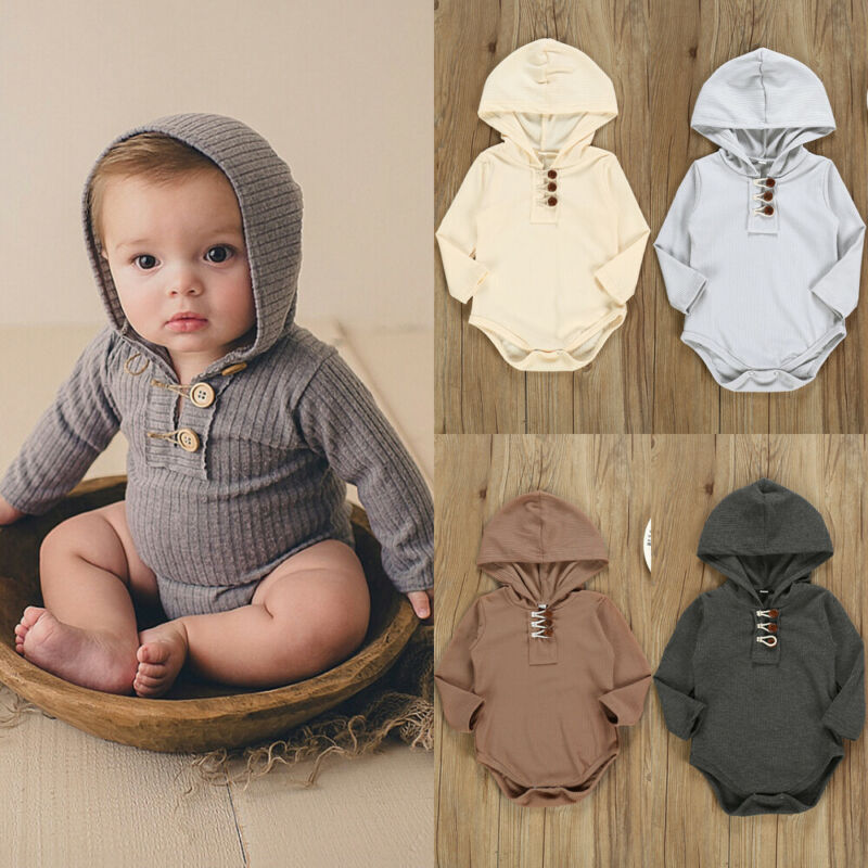 Autumn Spring Newborn Baby Girl Boy Hooded Romper Long Sleeve Button  Knitted Jumpsuit Soft Solid Outfit Clothes