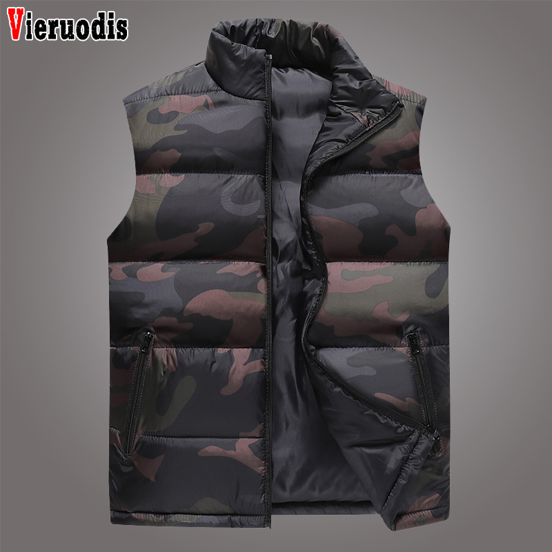 Winter Camouflage Men Sleeveless Jacket Mens Plus Size Thickening Vest Male Brand Casual Slim Windbreak Waterproof Vests 6XL