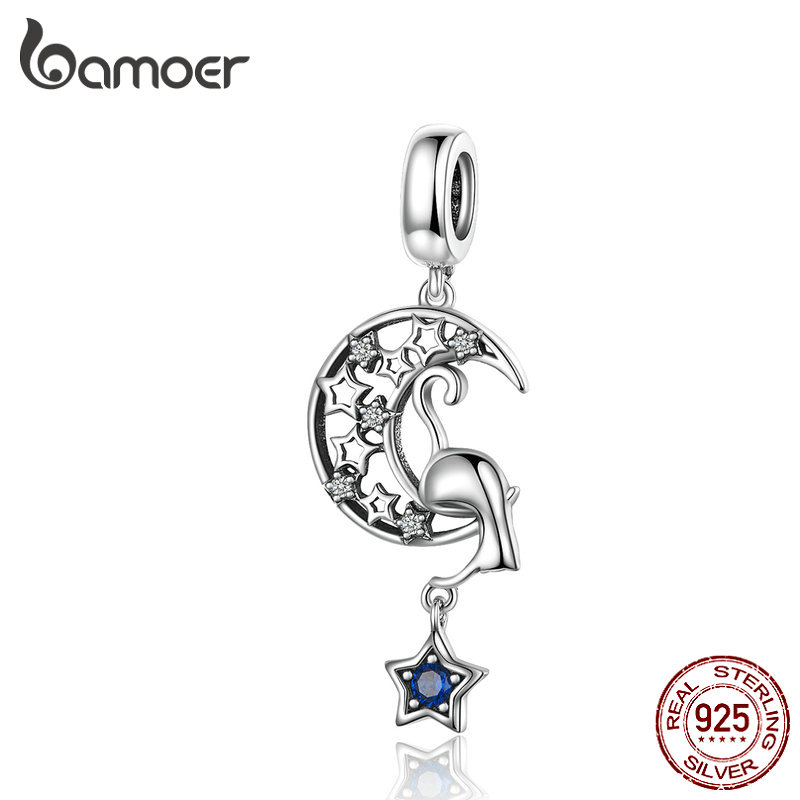 BAMOER 2019 New Vintage Moon And Star Cat Pendant Charm Fit For Bracelet Necklace 925 Sterling Silver Fine Jewelry SCC1205