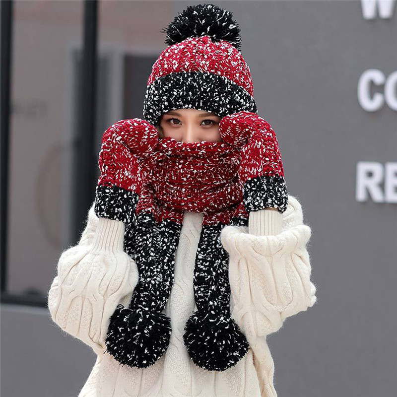 3Pcs Women Winter Warm Multicolor Knitted Venonat Beanie Hat+Scarf+Gloves Set Winter Gloves Screen Gloves Women Dropship O18