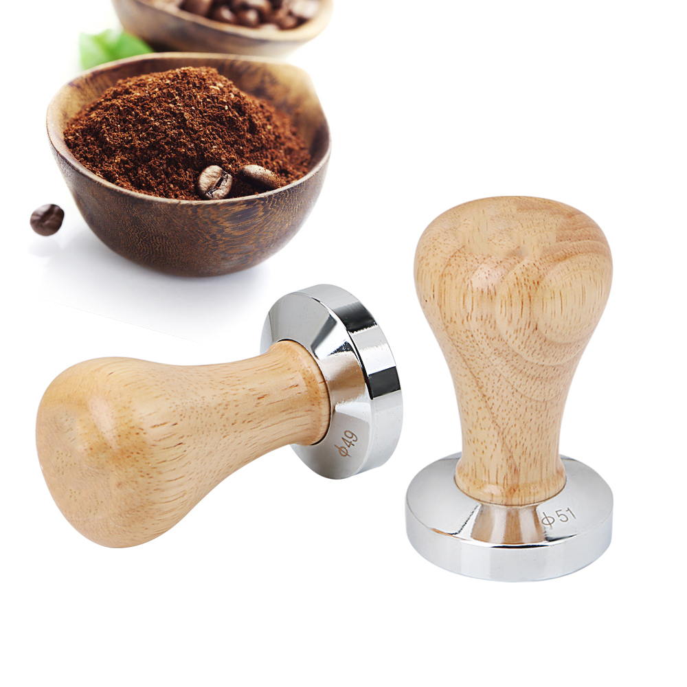 58MM 51MM Wood Handle Coffee Powder Hammer Stainless Steel Coffee Tamper Barista Tools Flat Espresso Tamper Coffee Accessories