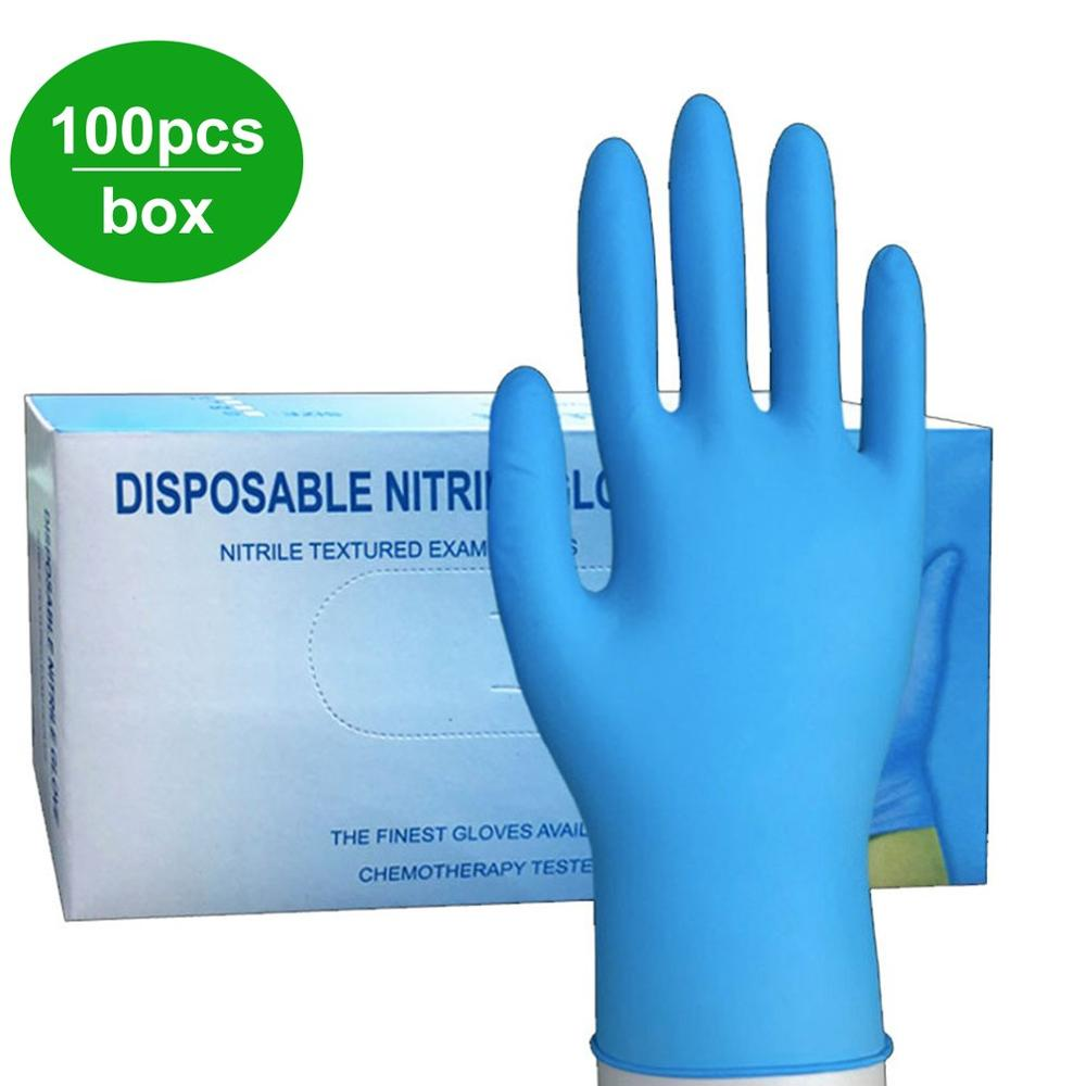 100Pcs/box Household Cleaning Washing Disposable Mechanic Gloves Nitrile Laboratory Nail Art Anti-Static Gloves