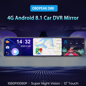 "OBEPEAK D80 12"" Car DVR Rearview Mirror 4G Android 8.1 Dash Cam GPS Navigation ADAS Full HD 1080P Car Video Camera Recorder DVRS(China)"