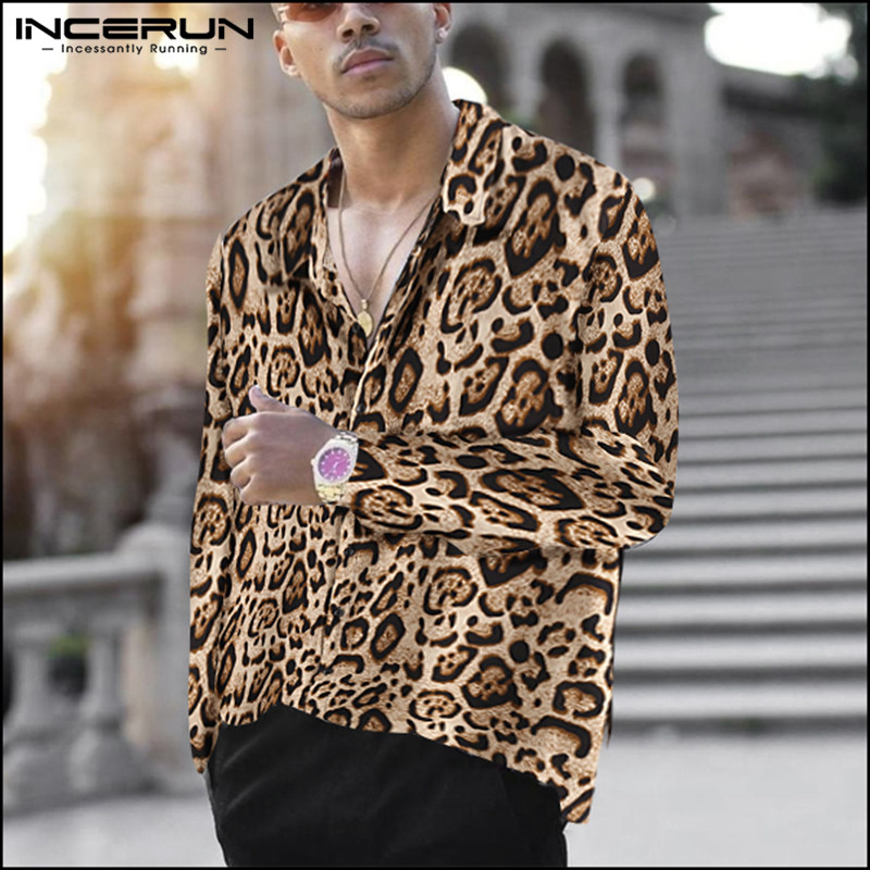 INCERUN Fashion Leopard Print Shirt Men Lapel Collar Long Sleeve Party Street Chic Camisa Masculina Casual Brand Shirts Men 2020
