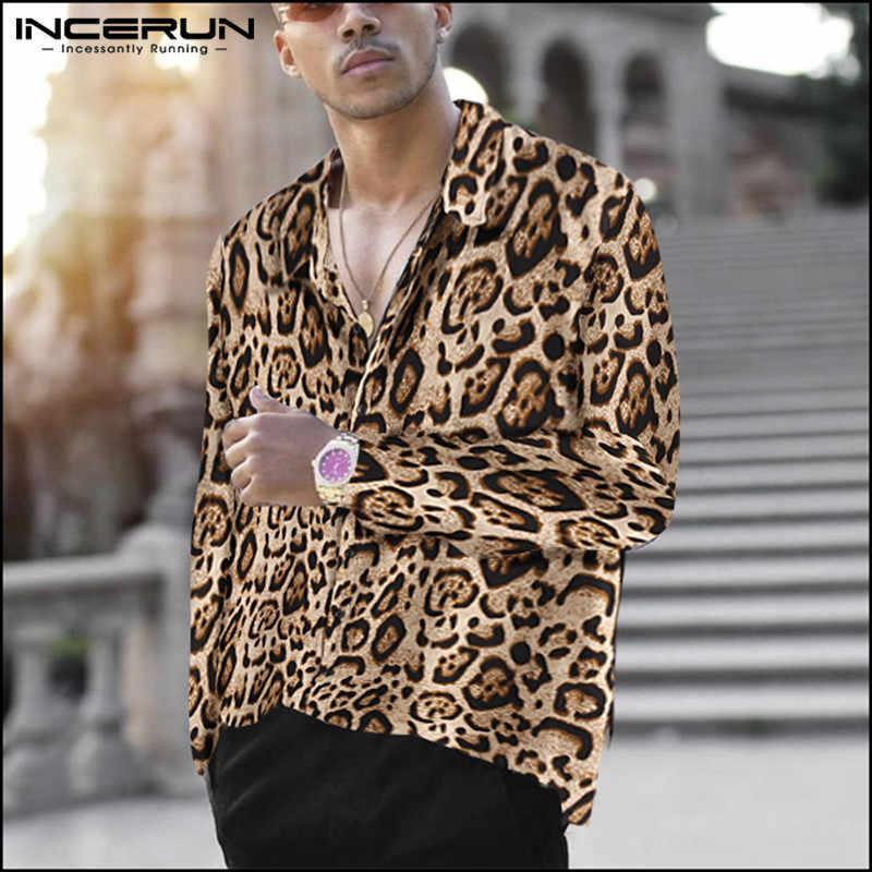 INCERUN mode imprimé léopard chemise hommes revers col à manches longues fête Chic de rue Camisa Masculina décontracté marque chemises hommes 2020