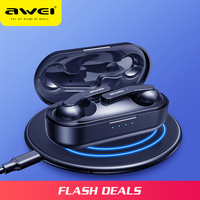 AWEI Newest TWS Mini Bluetooth V5.0 True Wireless Charging Earbuds With Mic HiFi Stereo Earphone Sport Headset Touch Control