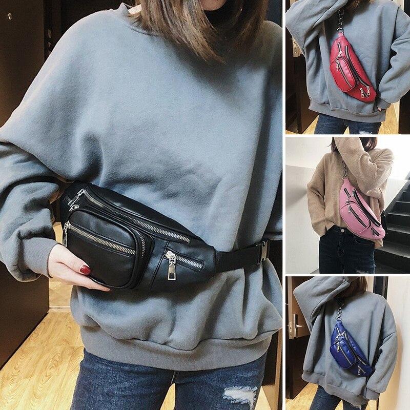 Litthing Women Leather Waist Bags Women Fanny Pack Female Belt Bag Black Geometric Waist Packs Laser Chest Phone Pouch 2019
