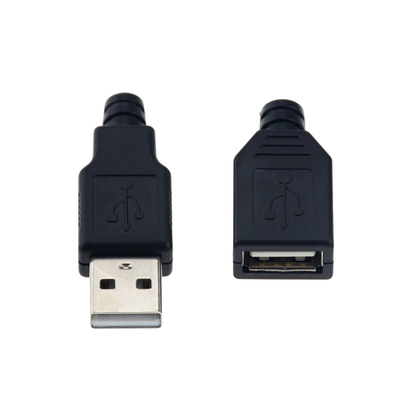 10pcs Type A Male And Female USB 4 Pin Plug Socket Connector With Black Plastic Cover Type-A DIY Kits