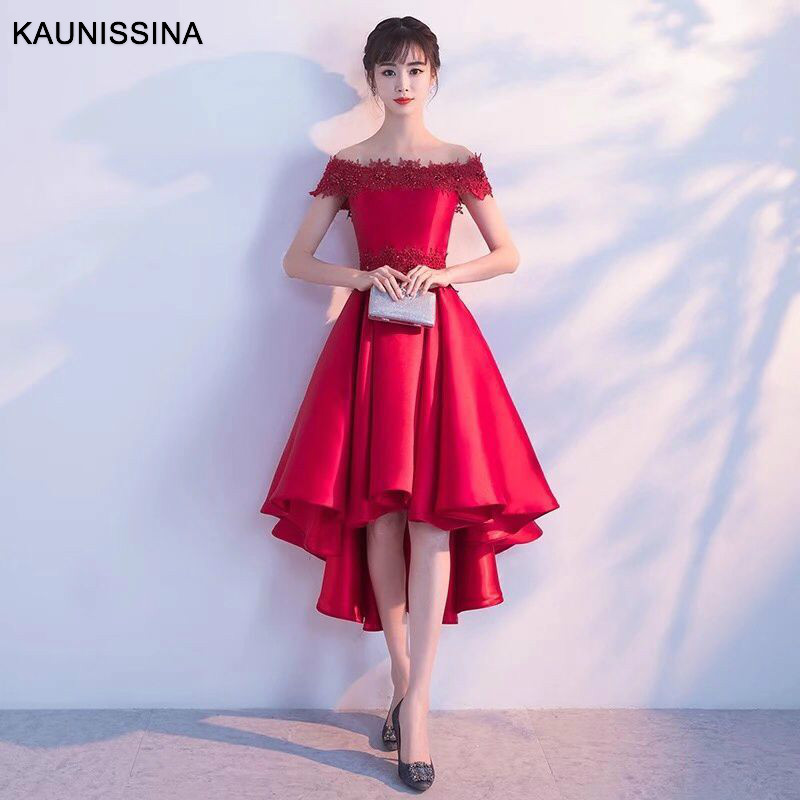 KAUNISSINA Cocktail Dresses Party Vestidos Women Off Shoulder Home Robe Red Bridal Dress Homecoming Gowns