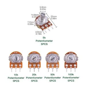 5 шт. WH148 B1K 2K 5K 10K 20K 50K 100K 500K 1 м однокомпонентный потенциометр с ручкой крышки, длина 15 мм, регулируемое сопротивление