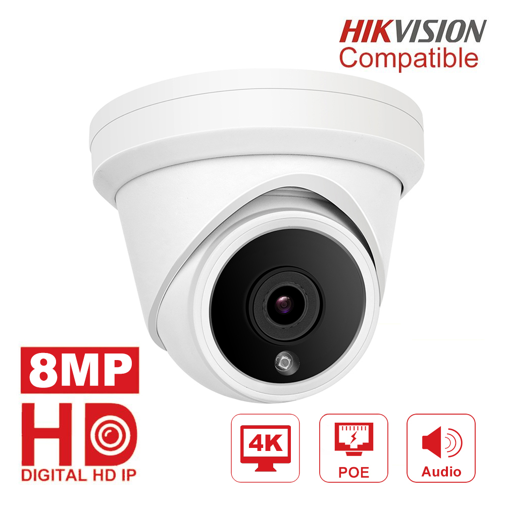 Hikvision Compatible 4K POE IP Camera Outdoor/Indoor 8MP Video Surveillance Turret Camera Compatible DS-1273ZJ-130-TRL