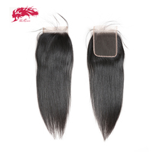 Ali Queen 4x4 HD Transparent Lace Closure Pre Plucked With Baby Hair 10~20inch Brazilian Straight Virgin Human Hair Closure