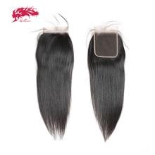 Perruque Lace Closure brésilienne naturelle vierge Ali Queen, cheveux lisses, 4x4, 10 20 pouces, pre plucked, avec Baby Hair, HD transparente