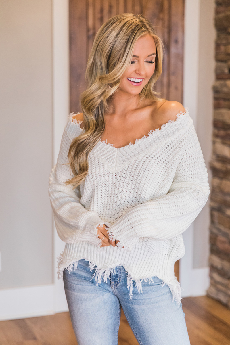 Knitted Pullover Sweaters Cropped Jumper Tassel Long-Sleeve White Autumn Winter Women