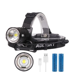 BORUiT XHP50 V6 LED Headlamp 3-Mode Zoom Headlight 4000LM High Power 18650 Rechargeable Camping Hunting Head Flashlight Torch