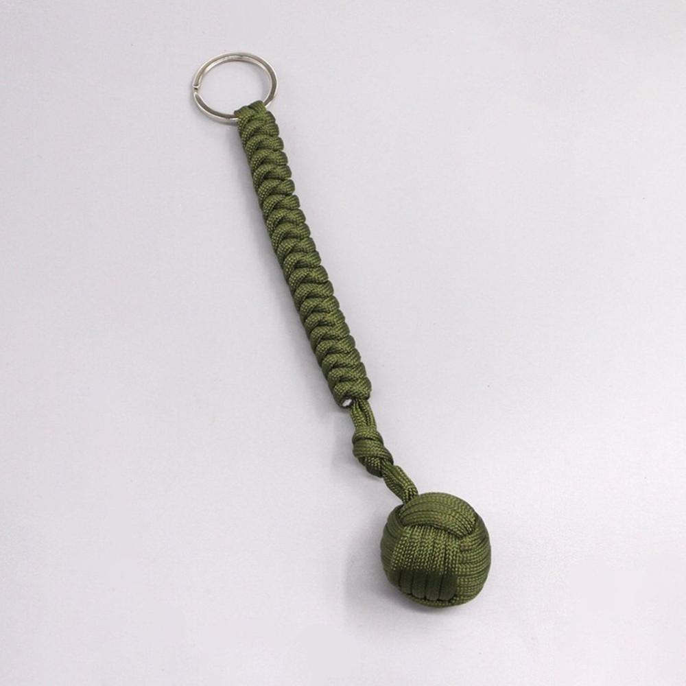 EDC Outdoor Self-defense Survive Knot Ball Pendant 550 Seven-core Umbrella Rope Key Chain Hanging Chain Hand-woven Steel Ball