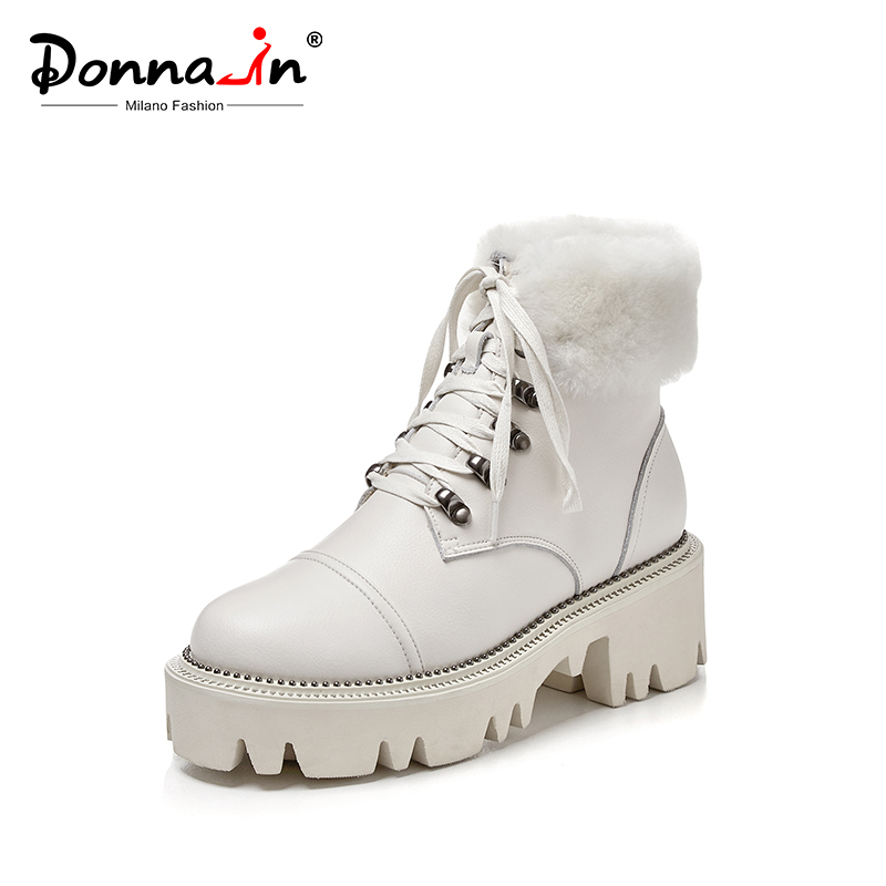 Donna-in 2020 Winter High Platform Snow Boots For Women With Warm Plush Natural Leather Women Shoes Rivet Gothic Botas Feminina