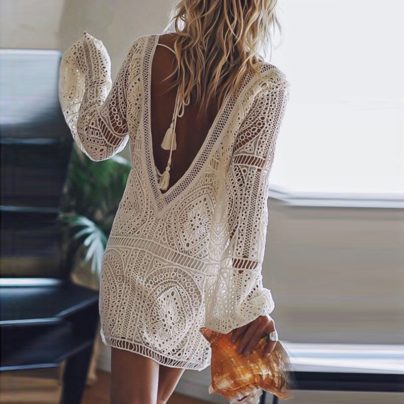 Autumn Women Casual Puff Long Sleeve <font><b>Dress</b></font> Elegant <font><b>Hollow</b></font> Out <font><b>Backless</b></font> <font><b>Lace</b></font> Mini <font><b>Dress</b></font> <font><b>Sexy</b></font> Beach Summer Party <font><b>Dress</b></font> image