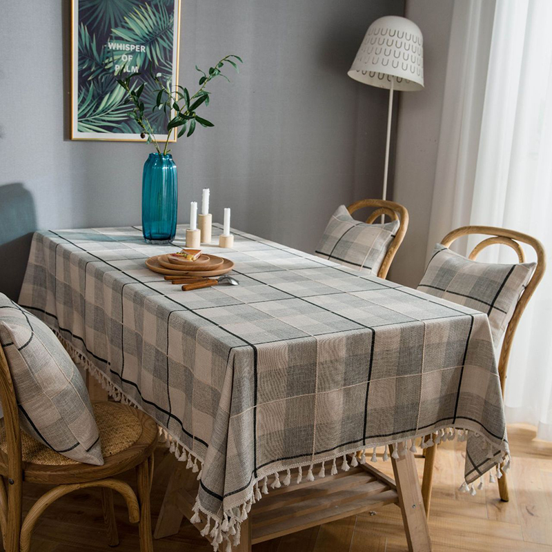 Plaid Rectangle Tablecloth With Tassel Decorative Linen Living Dining Dustproof Waterproof Table Mat Mantel Mesa