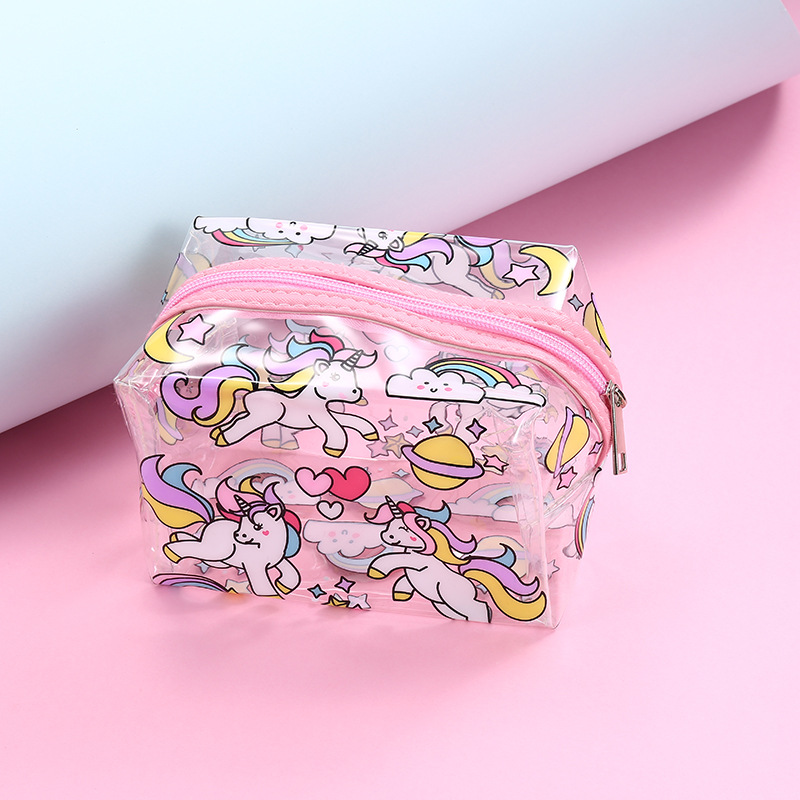 WULI SEVEN New Transparent PVC Unicorn Cosmetic Bag Organizer Make Up Pouch Toiletry