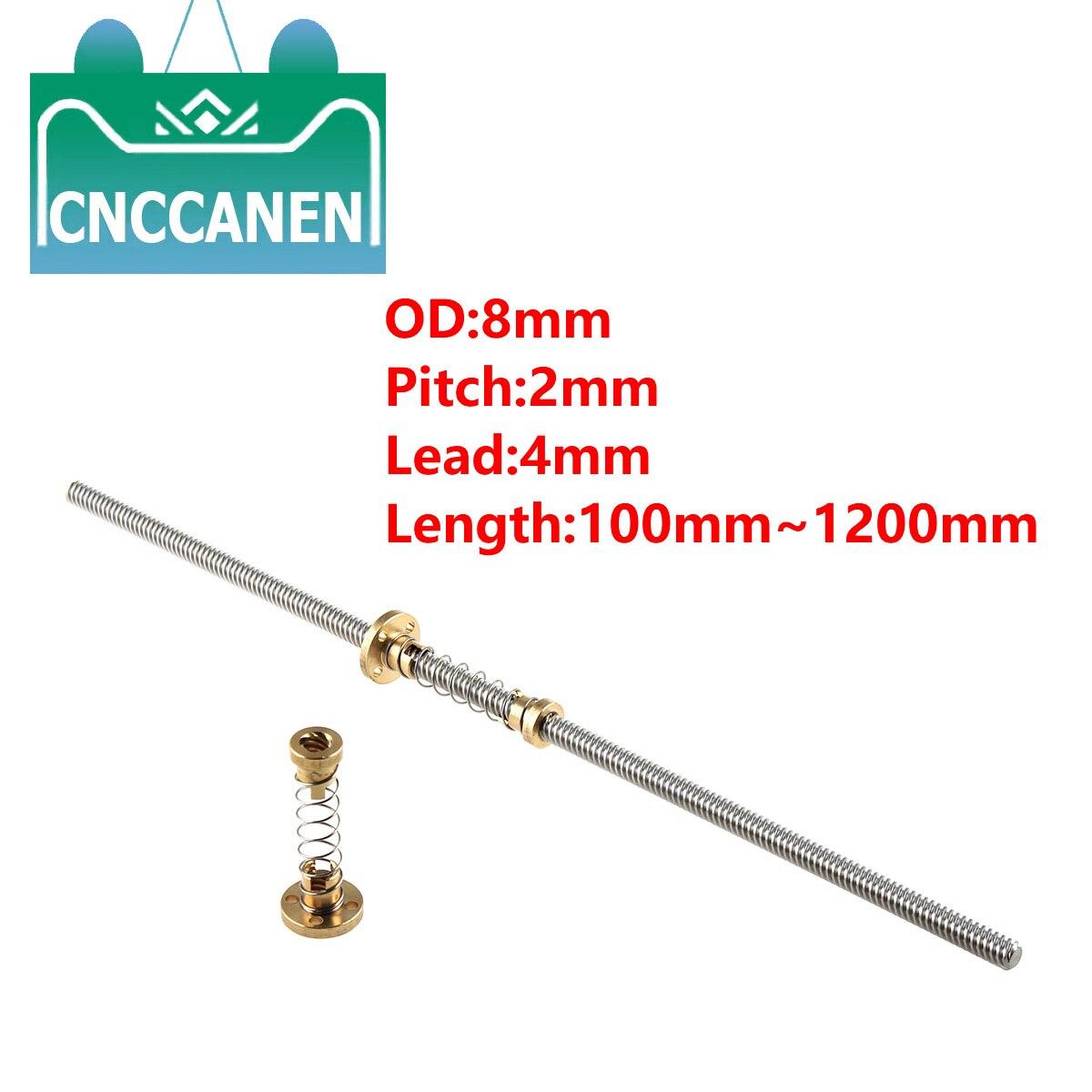 T8 Lead Screw Picth 2mm Lead 4mm 100mm 200mm 300mm 400mm 500mm 600mm 1200 Mm + Anti Backlash Spring Loaded Nut For 3D Printer