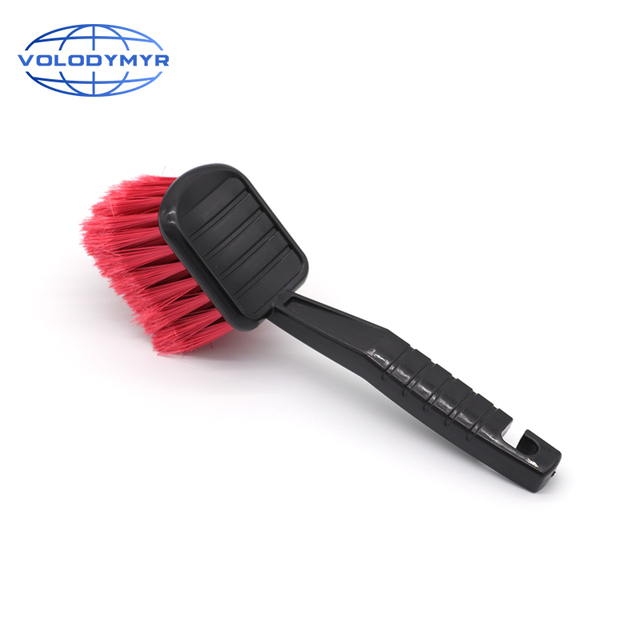 سيارة فرشاة تنظيف عجل السيارة الاطارات الأنظف مع الشعر الخشن الأحمر و مقبض أسود أدوات الغسيل للسيارات بالتفصيل دراجة نارية تنظيف Carclean
