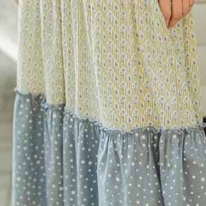 Image 4 - INMAN 2020 primavera nueva llegada literaria pura y fresca empalme contraste Color en forma de A falda de paraguas