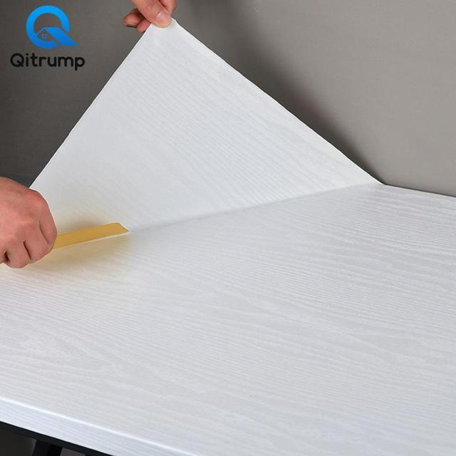 3D Wood Grain Home Decor Wallpaper PVC Waterproof Thickening Stickers Self-adhesive Kitchen Wardrobe Desktop Home Improvement