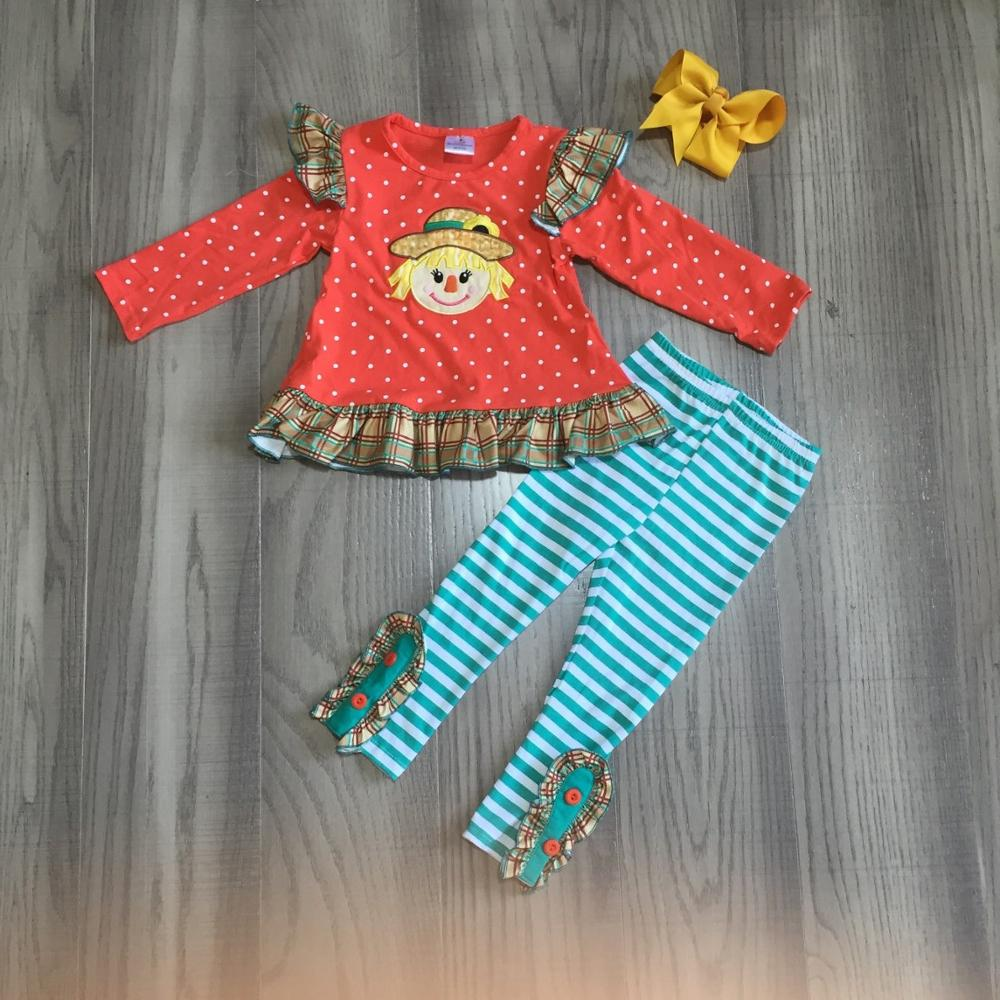 Girlymax fall/winter baby girls boys orange jade scarecrow outfits pants sey top raglans romper ruffles match bow family look 2