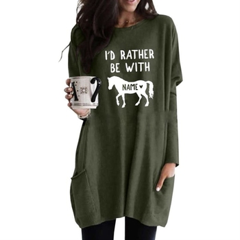 I D RATHER BE WITH HORSE Letters Print Hoodies For Women Long Sleeve Casual Pocket Kawaii Tops Corduroy Thick
