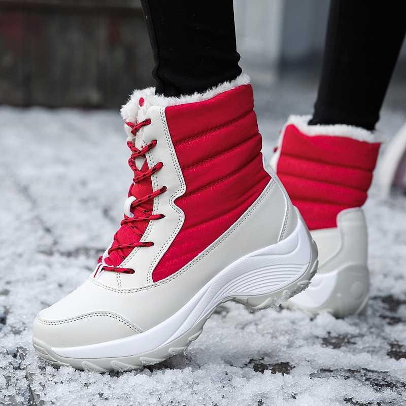 Kadın kar botları su geçirmez kaymaz ebeveyn-çocuk kış çizmeler kalın kürk platformu su geçirmez ve sıcak ayakkabı artı boyutu 31-43