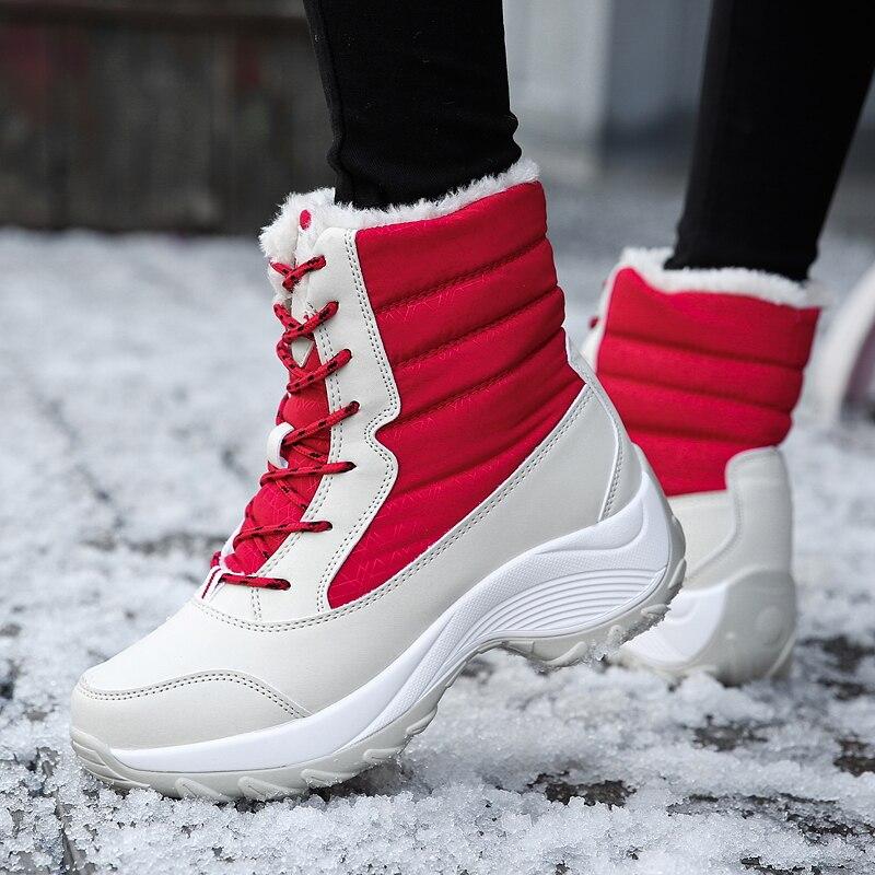 Women Snow Boots Waterproof Non-slip Parent-child Winter Boots Thick Fur Platform Waterproof And Warm Shoes Plus Size 31-43