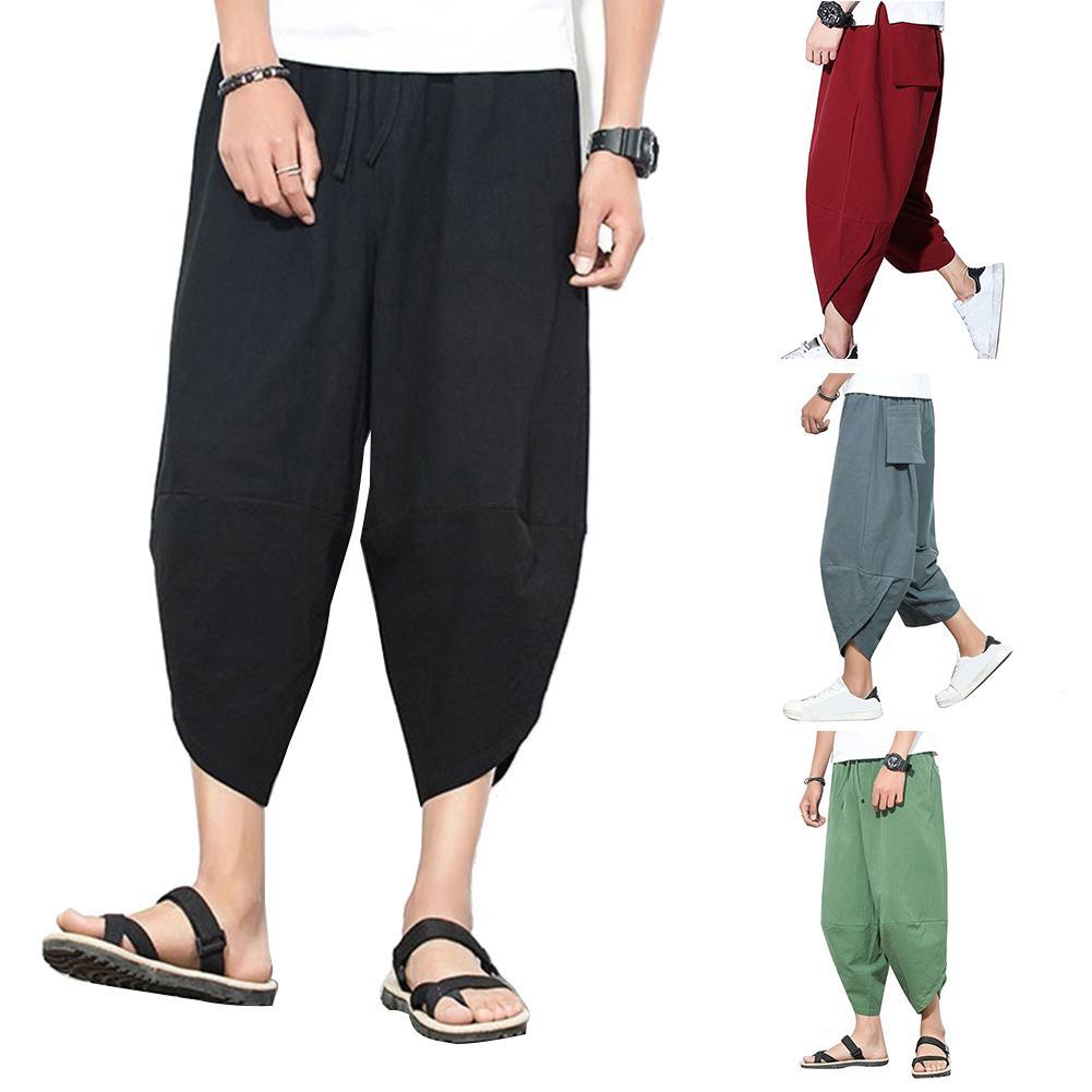 Plus Size Men Solid Color Capri Pants Drawstring Oversize Samurai Trousers Style Cropped Pants