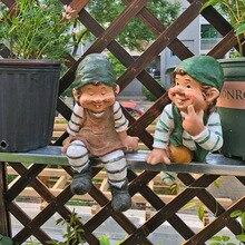 купить 2 pcs resin creative garden gnome  figurine carry water courtyard dwarf statue home garden outdoor decorations ornament дешево