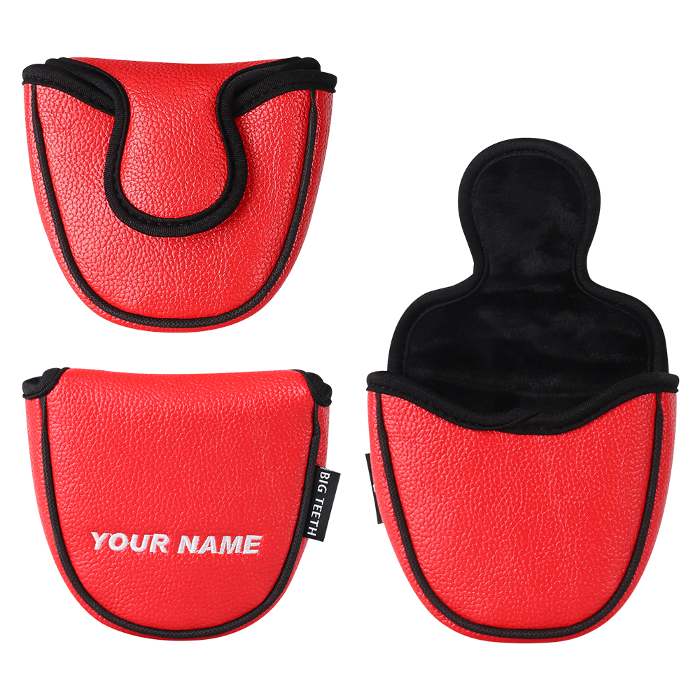 Custom Made Golf Mallet Putter Head Cover Customized Leather With Your Name 2-Ball Magnetic Closure