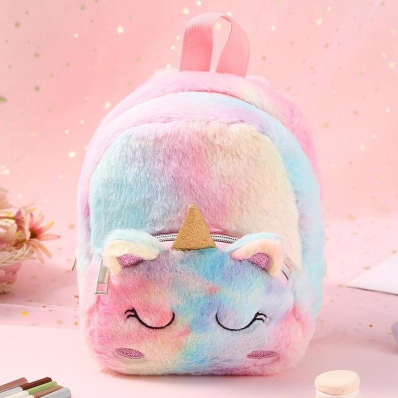 Plush Unicorn Backpack Children's Cartoon School Bag Cute Unicorn Bag Mini Unicorn Backpack Bags Mini Pink Back Pack Schoolbag