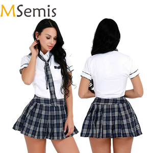 Adult Women Exotic Costume Girls School Uniform Cosplay Fancy Dress Up Sexy Roleplay Short Sleeve Shirt with Plaid Mini Skirt