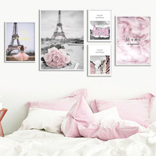 Eiffel Tower Girl Wall Art Canvas Fashion Poster Pink City Landscape Painting Nordic Print Decoration Picture Living Room Decor(China)