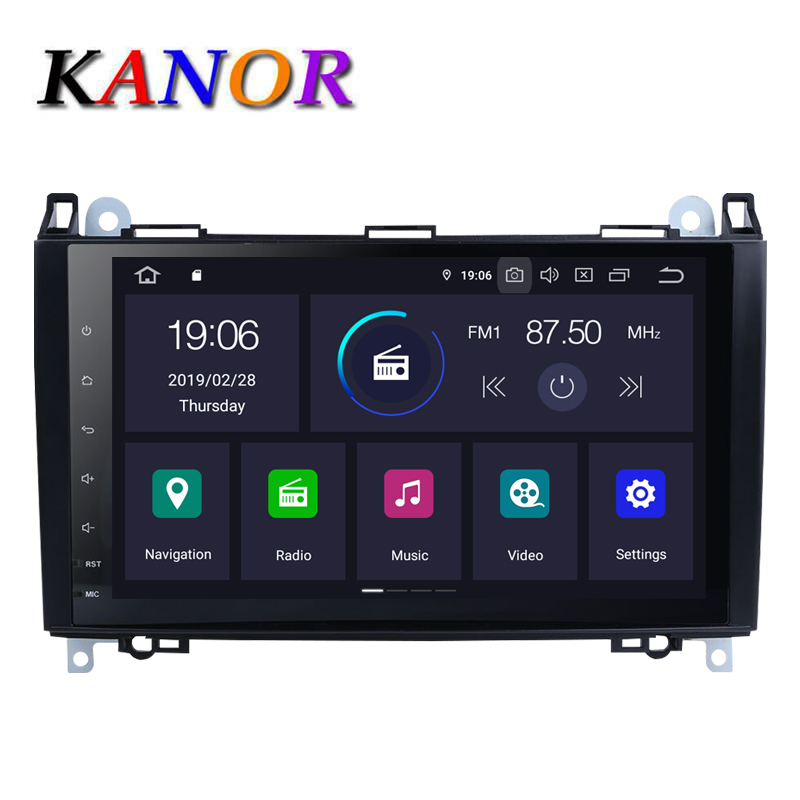 KANOR 1024*600 IPS Android 9.0 2 Din Car DVD Player For Mercedes Benz W169 A150 A160 A170 W245 B200 B160 B170 <font><b>B</b></font> <font><b>180</b></font> GPS Navi image