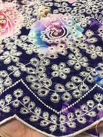 BEAUTIFICAL African lace fabrics Fashion multi prints flowers lace fabric 5yards Punch cloth cotton lace fabric ML35G04
